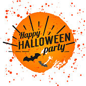 Happy Halloween Poster on bright watercolor background with stains and drops. Vector Illustration of Happy Halloween banner with halloween elements. Bats, spiderweb.