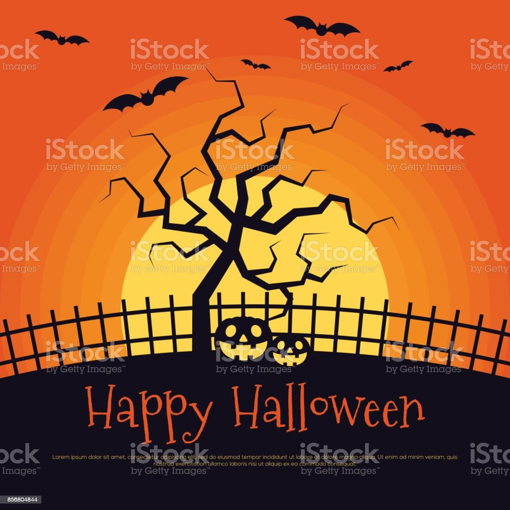 Happy Halloween Poster Template Background Royalty Free Stock Vector Art