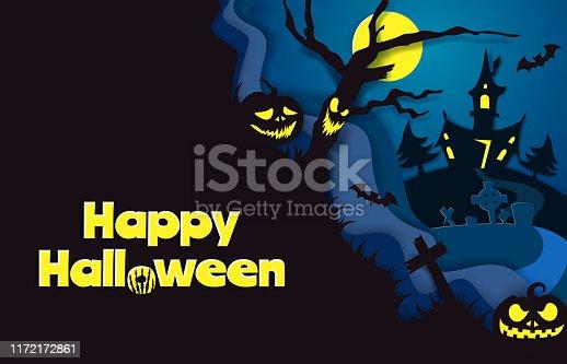 istock Happy Halloween poster template, vector paper cut illustration 1172172861