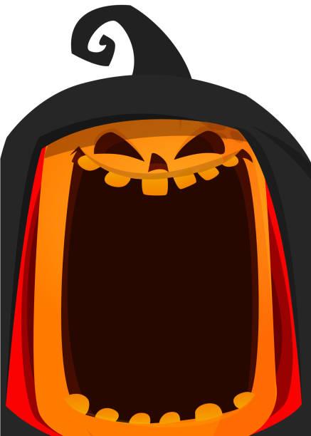 Happy Halloween-Poster. Vektor-Illustration von Jack o Lantern Kürbis Kopf – Vektorgrafik