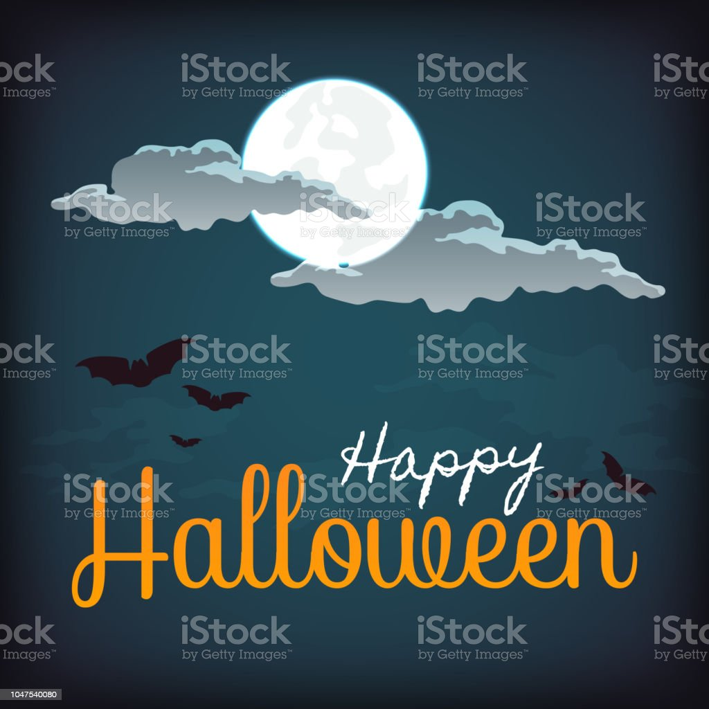 Happy halloween poster, banner, greeting card design with full moon,...