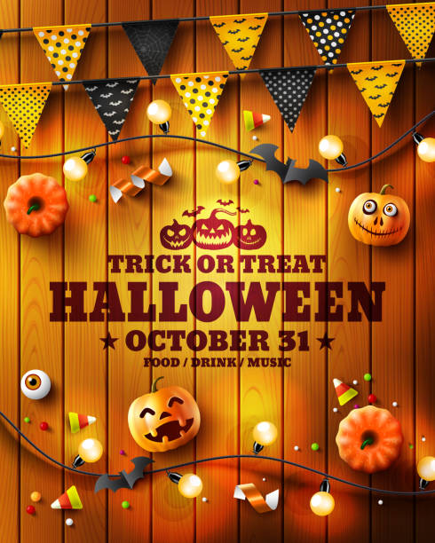 happy halloween poster with halloween elements on wood texture background.party invitation concept in traditional colors.website spooky,background or banner halloween template.vector illustration eps10 - halloween candy stock illustrations