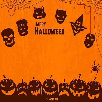 Happy Halloween poster with labels
