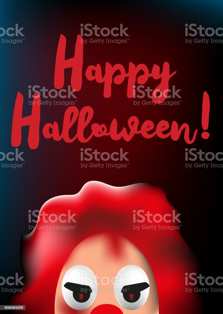 Happy Halloween Poster With Scary Clown Mask stock vector art ...