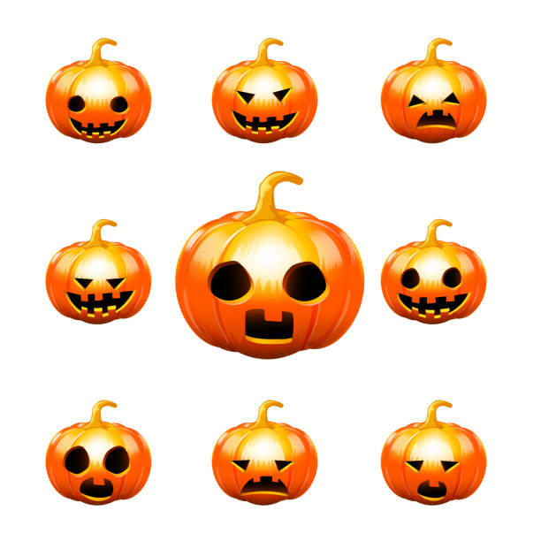 Royalty Free Ugly Pumpkin Faces Background Clip Art Vector Images