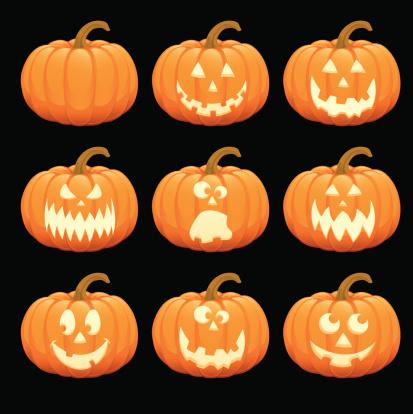 Happy Halloween Pumpkin Jack O' Lantern Vector Illustration Collection Set