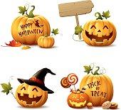 istock Happy Halloween Pumpkin Set 485492798