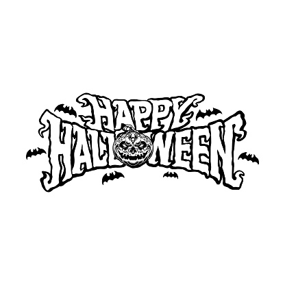 Happy halloween pumpkin typography Silhouette Vector illustrations for your work Logo, mascot merchandise t-shirt, stickers and Label designs, poster, greeting cards advertising business company or brands.