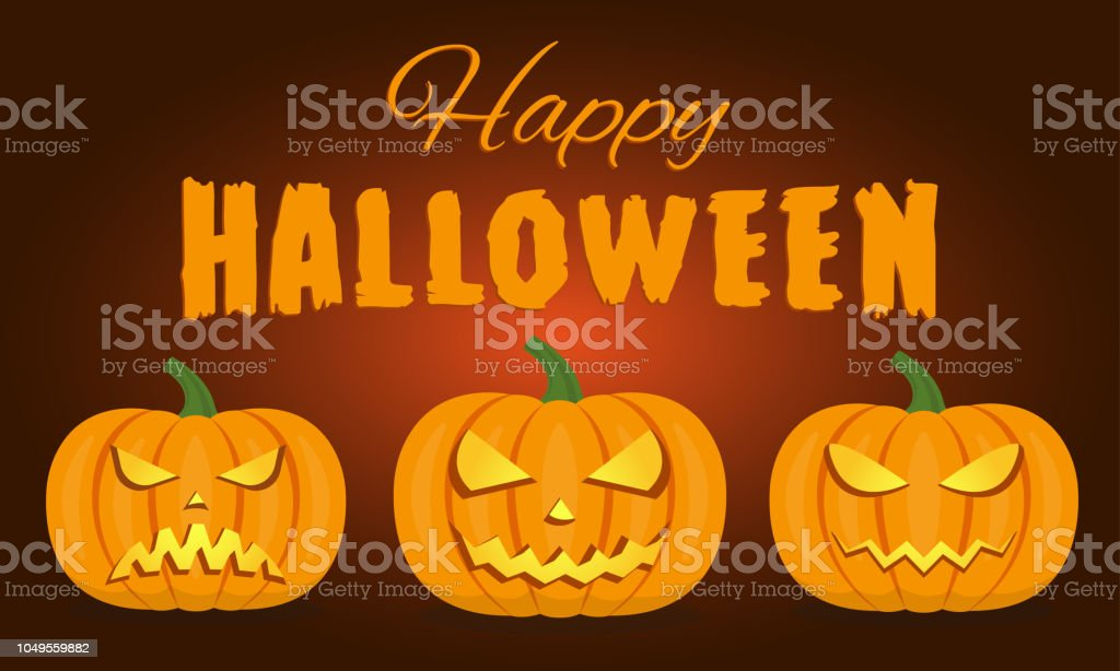 Happy Halloween. Pumpkins with scary faces on the dark background....