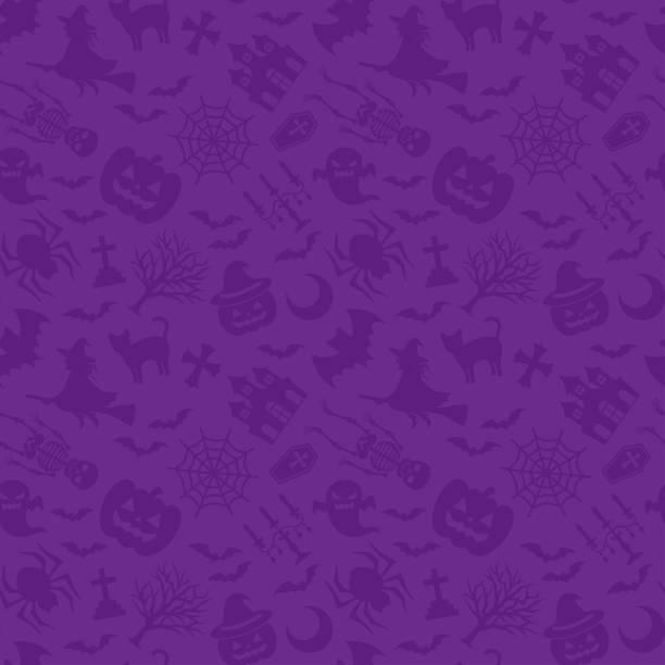 illustrazioni stock, clip art, cartoni animati e icone di tendenza di felice halloween. sfondo viola. - halloween