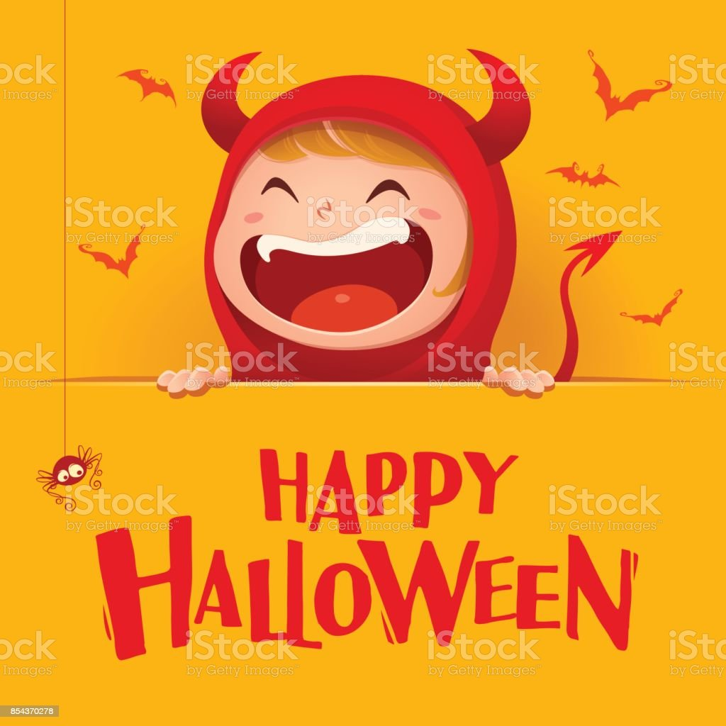 Happy Halloween Red Devil Demon With Big Signboard Yellow Background Stock Illustration Download Image Now Istock