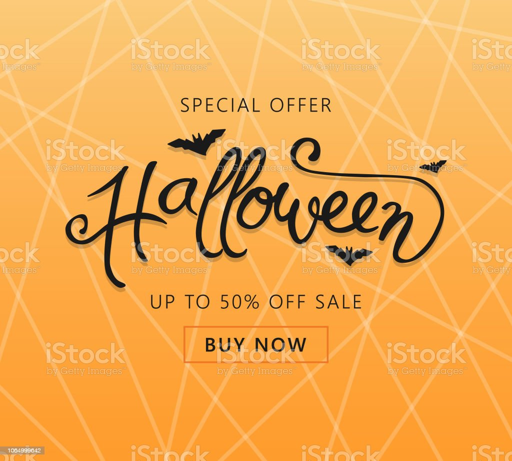 Happy Halloween sale banner or party invitation card. Gradient orange...