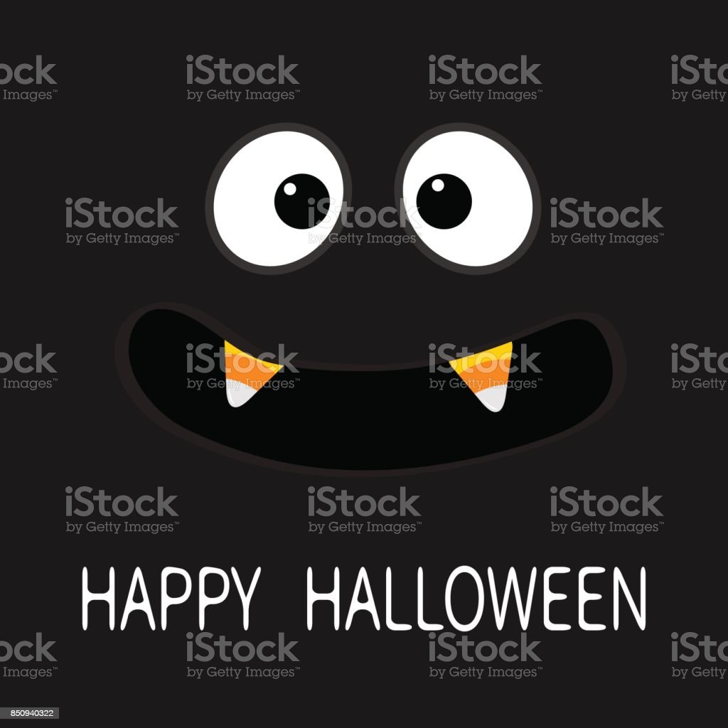 happy halloween scary face emotions big eyes mouth with candy corn vampire tooth
