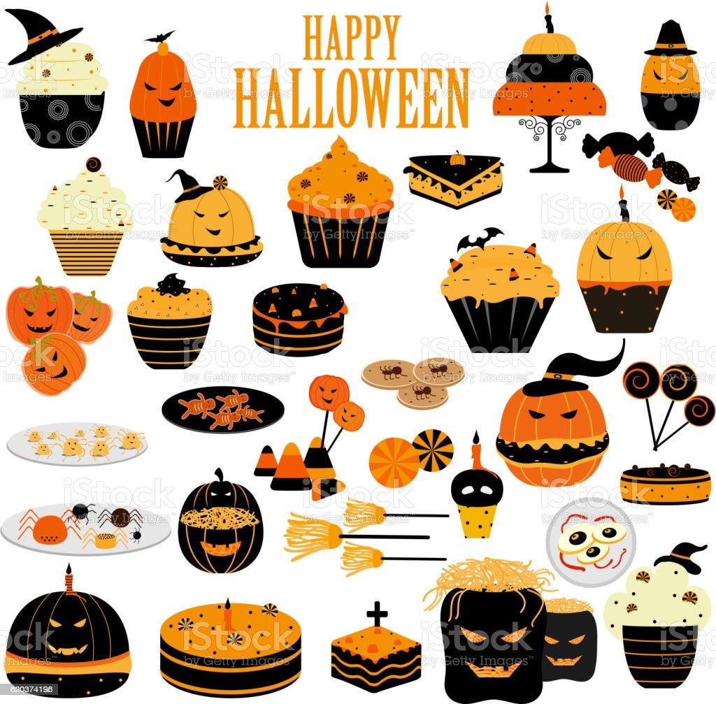 Happy Halloween scary food and sweet happy halloween scary food and sweet - stockowe grafiki wektorowe i więcej obrazów ciasto royalty-free