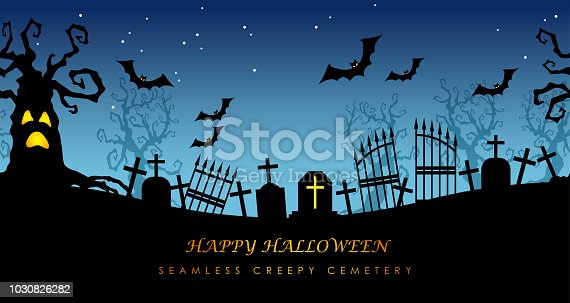 Happy Halloween seamless creepy cemetery with text space, vector illustration.