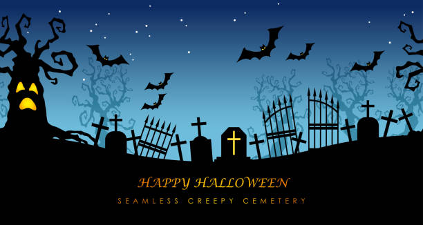 happy halloween seamless creepy cemetery with text space. - halloween candy stock illustrations