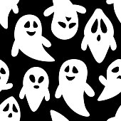 Happy halloween seamless pattern background with flying ghosts. Abstract illustration.