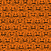 Happy Halloween seamless pattern background with scary pumpkins. Abstract illustration.