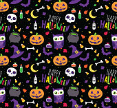Happy Halloween seamless vector repeating pattern