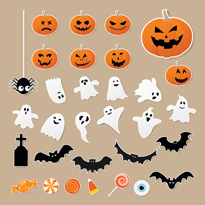 Happy halloween set of characters in cartoon sticker style with pumpkin, spider, ghost, bat and candy on paper background. Vector illustration.