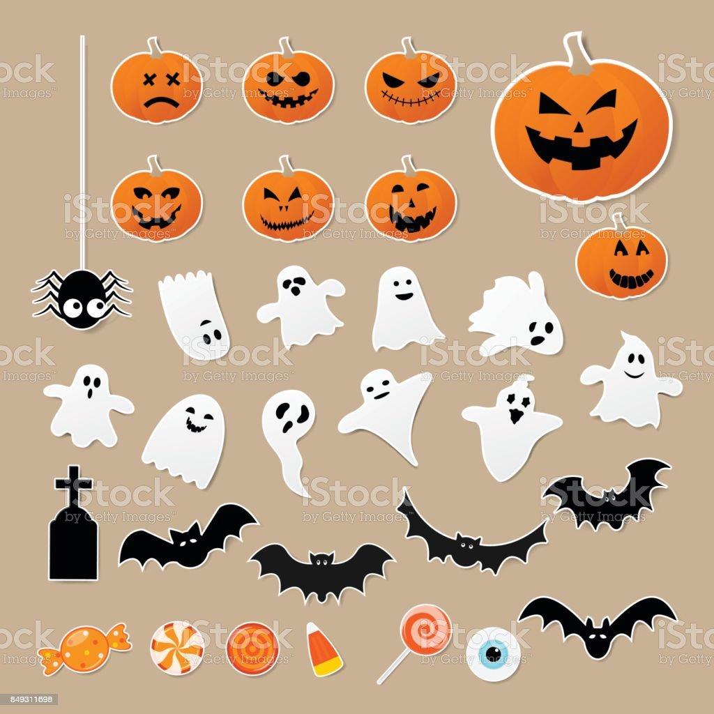 Feliz halloween conjunto de caracteres en estilo etiqueta engomada de la historieta con calabaza, araña, fantasma, murciélago y caramelo sobre papel. Ilustración de vector. - ilustración de arte vectorial
