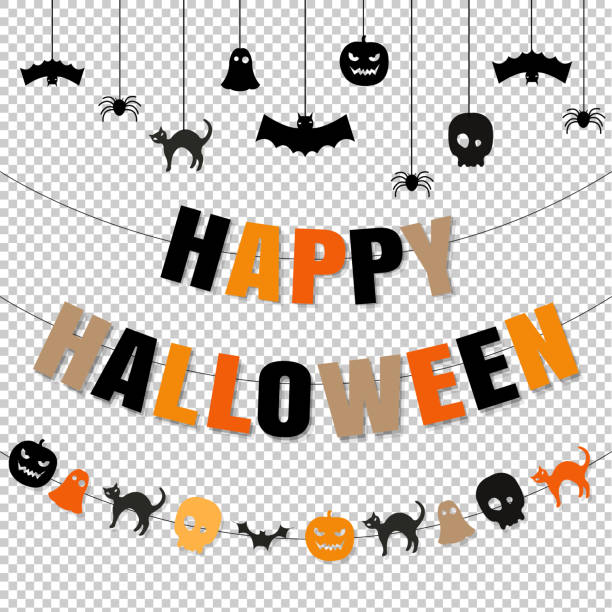 happy halloween set transparent background - halloween candy stock illustrations