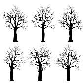 Happy Halloween set,Vector Set Silhouettes dead trees set.