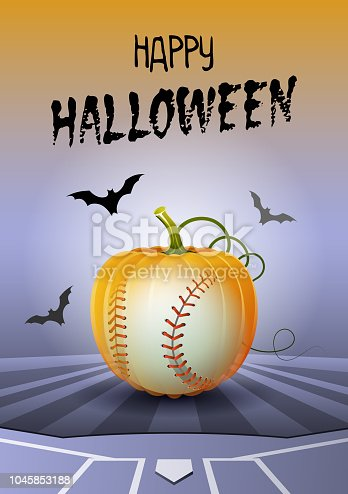 Happy Halloween. Sports greeting card. Realistic baseball ball in the shape of a Pumpkin. Vector illustration.