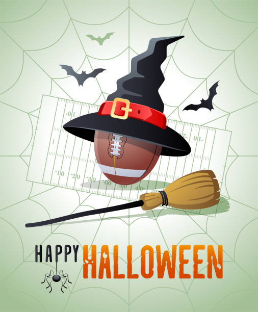 illustrations, cliparts, dessins animés et icônes de joyeux halloween. carte de vœux sportive. balle de football avec le chapeau et le balai de sorcières. - cage animal nuit