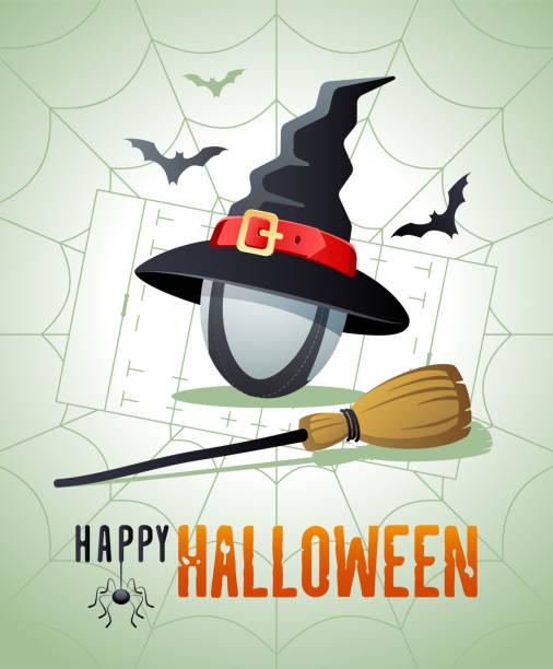illustrations, cliparts, dessins animés et icônes de joyeux halloween. carte de vœux sportive. balle de rugby avec le chapeau et le balai de sorcières. - cage animal nuit