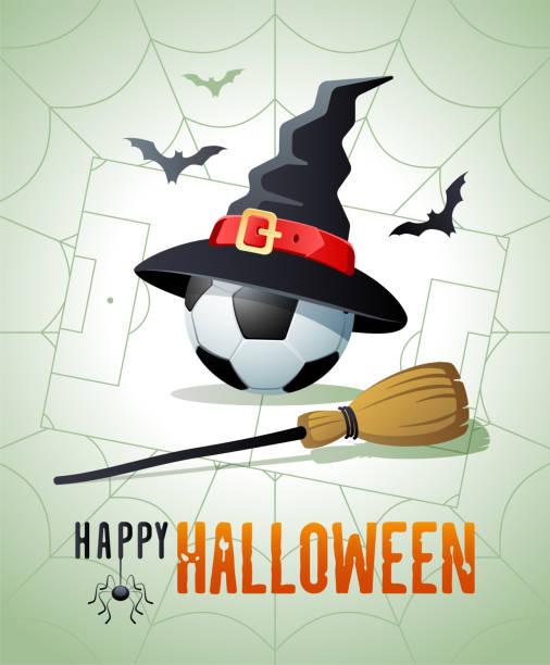illustrations, cliparts, dessins animés et icônes de joyeux halloween. carte de vœux sportive. bille de football avec le chapeau et le balai de sorcières. - cage animal nuit