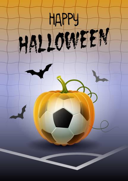 illustrations, cliparts, dessins animés et icônes de joyeux halloween. carte de voeux de sports. football. - cage animal nuit