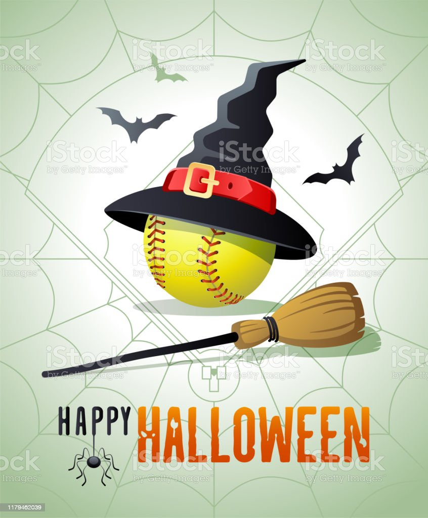 Happy Halloween. Sports greeting card. Softball ball with witches hat...