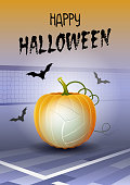 Happy Halloween. Sports greeting card. Realistic volleyball ball in the shape of a Pumpkin. Vector illustration.