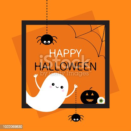 istock Happy Halloween. Square frame. Flying ghost silhouette. Two black spider dash line. Web corner Pumpkin, eyeball. Cute cartoon baby character. Flat design. Orange background. 1022069830