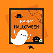 Happy Halloween. Square frame. Flying ghost silhouette. Two black spider dash line. Web corner Pumpkin, eyeball. Cute cartoon baby character. Flat design. Orange background. Vector illustration