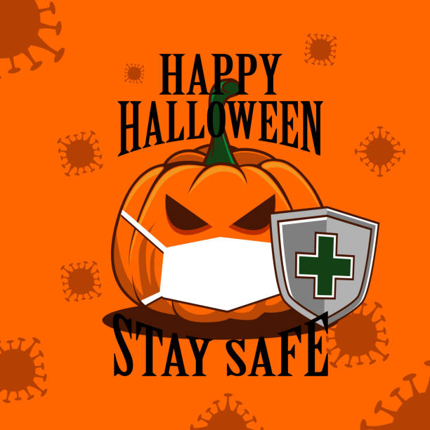 happy halloween stay safe with shield vector illustration editable vector illustration of a halloween pumpkin wearing mask and shield during covid-19 pandemic. halloween covid stock illustrations