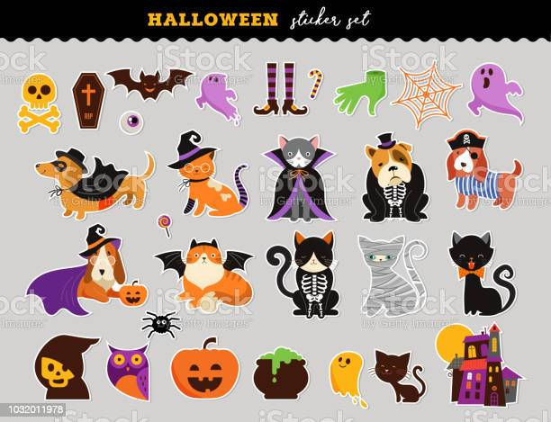 Happy halloween stickers set of cats and dogs in monsters costumes vector id1032011978?b=1&k=6&m=1032011978&s=612x612&h=3g6l2fdsu7ixx7ojkur08vy3wop8gntijusdot 9qwg=