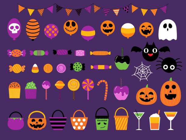 illustrazioni stock, clip art, cartoni animati e icone di tendenza di buon set per feste di caramelle dolci di halloween - halloween