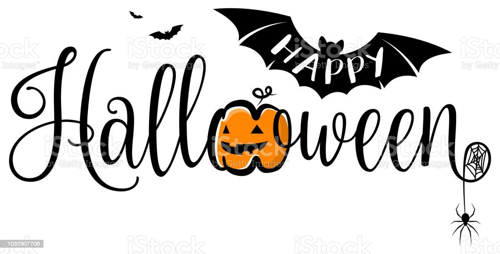 Happy Halloween-Text-Banner. Halloween-Vektor-Logo isoliert. – Vektorgrafik
