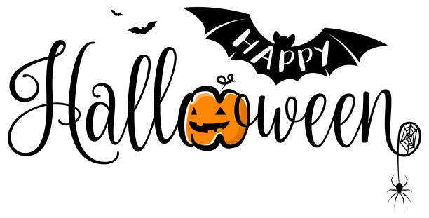 stockillustraties, clipart, cartoons en iconen met happy halloween tekstbanner. halloween vector logo geïsoleerd. - halloween
