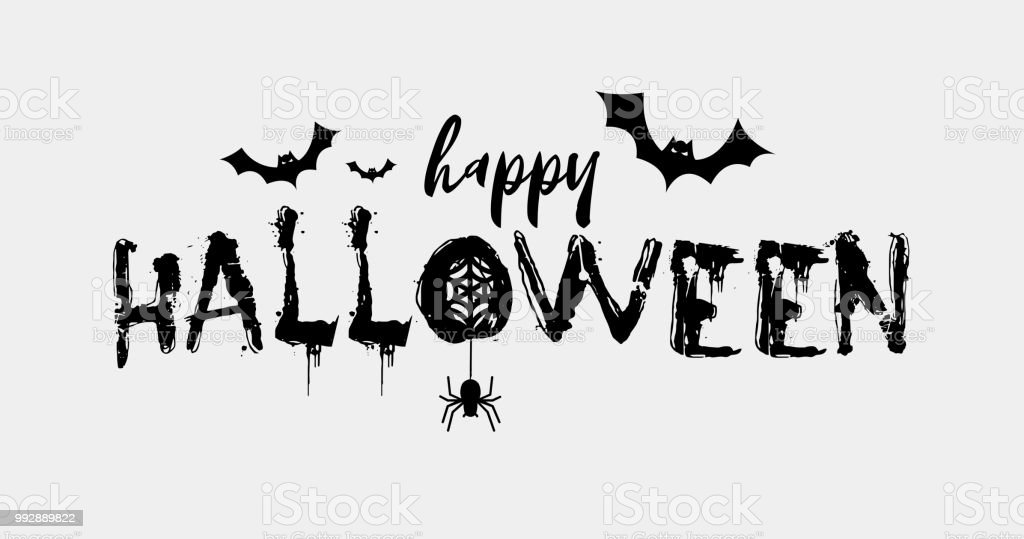 happy halloween text banner party invitation card flyer vector