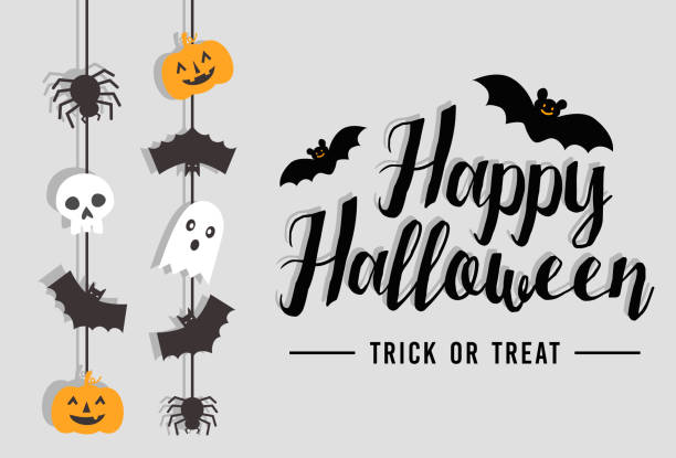 happy halloween text banner with bat, spider, pumpkin and ghost, vector - cute stock illustrations
