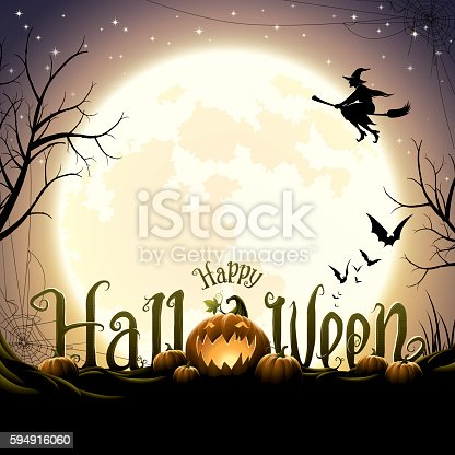 Happy halloween text with pumpkins, flying witch and bats on full moon halloween night.