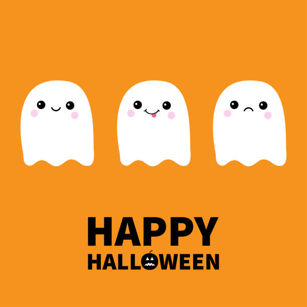 Happy Halloween. Three flying ghost spirit sad, smiling, showing tongue. Boo. Scary white ghosts. Cute cartoon spooky character. Smiling face, cheeks. Orange background Greeting card. Flat design. Happy Halloween. Three flying ghost spirit sad, smiling, showing tongue. Boo. Scary white ghosts. Cute cartoon spooky character. Smiling face, cheeks Orange background Greeting card Flat design Vector spooky halloween town stock illustrations