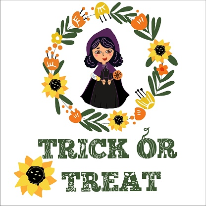 Happy Halloween, trick or treat, cute witch in a wreath of autumn flowers, with sweets, lollipops, sunflowers.
