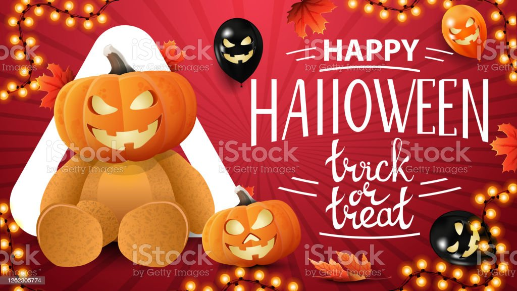 Happy Halloween Trick Or Treat Horizontal Red Greeting Postcard With Halloween Balloons Pumpkin Garland Autumn Leafs And Teddy Bear With Jack Pumpkin Head Stock Illustration Download Image Now Istock