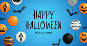 Happy Halloween, Trick or Treat lettering, pumpkin balloons. Invitation or advertising design. Typed text, calligraphy. For leaflets, brochures, invitations, posters or banners.