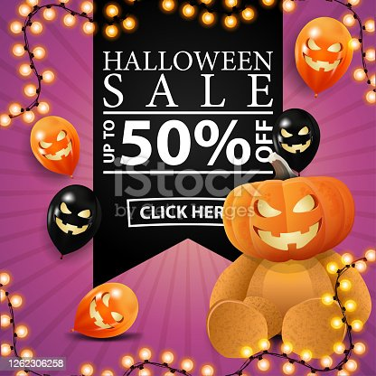 istock Happy Halloween, trick or treat, square pink greeting postcard with black ribbon,, halloween balloons and Teddy bear with Jack pumpkin head 1262306258