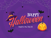 istock Happy Halloween Trick Or Treat Text with Jack-O-Lantern, Witch Hat, Bats Flying and Spider Web on Purple Background. 1271326956